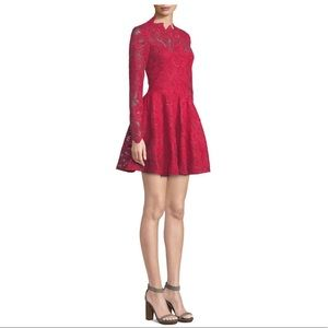 SAYLOR Rita Long-Sleeve Mini Dress in Corded Lace